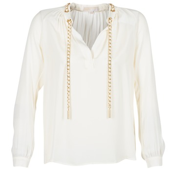 tekstylia Damskie Topy / Bluzki MICHAEL Michael Kors SLIT L/S CHAIN Creme