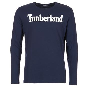 tekstylia Męskie T-shirty z długim rękawem Timberland LINEAR LOGO PRINT RINGER Marine