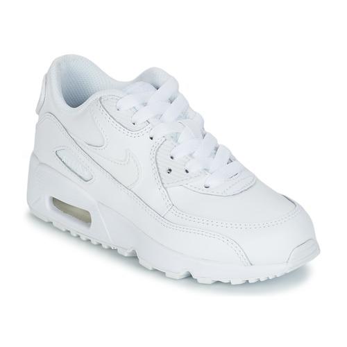 Buty Dziecko Trampki niskie Nike AIR MAX 90 LEATHER PRE-SCHOOL Biały