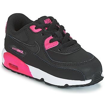 Buty Dziewczynka Trampki niskie Nike AIR MAX 90 LEATHER TODDLER Czarny / Różowy