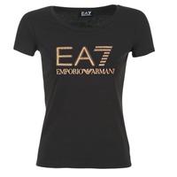 tekstylia Damskie T-shirty z krótkim rękawem Emporio Armani EA7 TRAIN LOGO SERIES GLITTER Czarny / DORE / Różowy