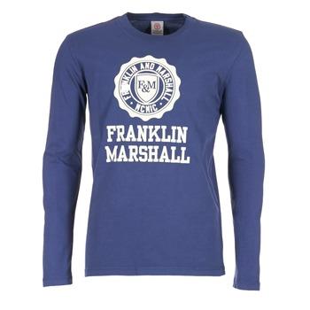 tekstylia Męskie T-shirty z długim rękawem Franklin & Marshall DESTU MARINE