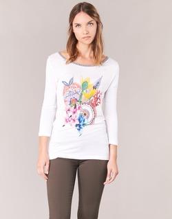 tekstylia Damskie T-shirty z długim rękawem Desigual TERON Biały