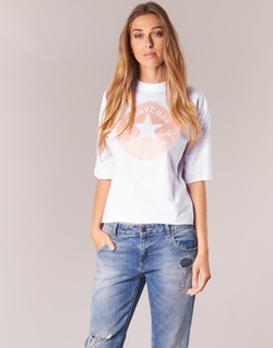 tekstylia Damskie T-shirty z krótkim rękawem Converse SATIN CP MOCK NECK TEE Biały