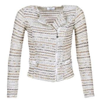 tekstylia Damskie Kurtki / Blezery Le Temps des Cerises MIRABEAU Beżowy / Biały