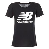 tekstylia Damskie T-shirty z krótkim rękawem New Balance NB LOGO T Czarny / Biały