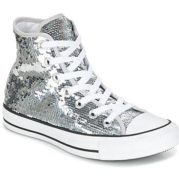 Buty Damskie Trampki wysokie Converse CHUCK TAYLOR ALL STAR SEQUINS HI SILVER/WHITE/BLACK Srebrny