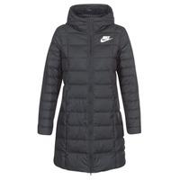 tekstylia Damskie Kurtki pikowane Nike DOWN FILL PARKA Czarny / Biały