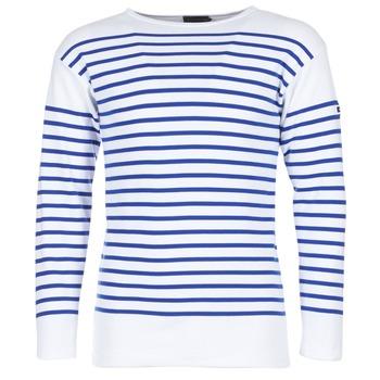 tekstylia Męskie T-shirty z długim rękawem Armor Lux DISJON Biały / Niebieski