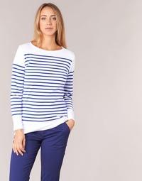 tekstylia Damskie T-shirty z długim rękawem Armor Lux ROADY Biały / Niebieski