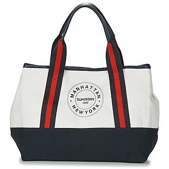 Torby Damskie Torby shopper Superdry BAYSHORE BEACH TOTE Biały / Marine / Czerwony