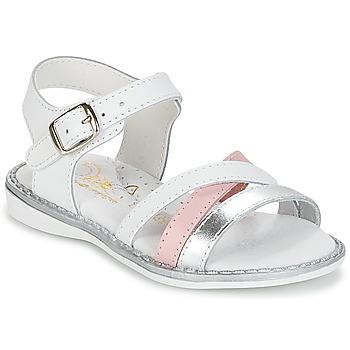 Buty Dziewczynka Sandały Citrouille et Compagnie IZOEGL Biały / Argenté / Różowy