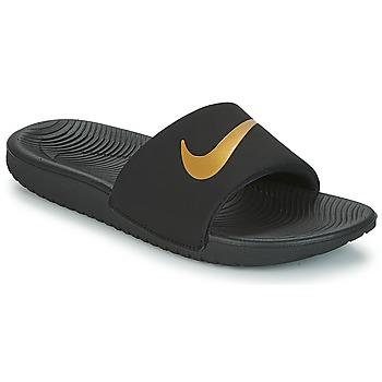 Buty Chłopiec klapki Nike KAWA GROUNDSCHOOL SLIDE Czarny / Złoty