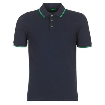 tekstylia Męskie Koszulki polo z krótkim rękawem Benetton MADURI Marine