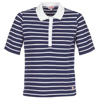 tekstylia Damskie Koszulki polo z krótkim rękawem Armor Lux POLAED Marine / Biały