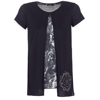 tekstylia Damskie T-shirty z krótkim rękawem Desigual NUTILAD Czarny