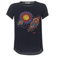 tekstylia Damskie T-shirty z krótkim rękawem Desigual NAIKLE Czarny