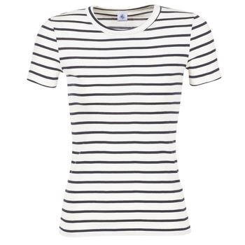 tekstylia Damskie T-shirty z krótkim rękawem Petit Bateau  Biały / MARINE