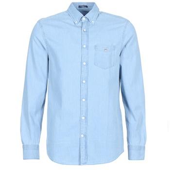 tekstylia Męskie Koszule z długim rękawem Gant THE INDIGO REG Niebieski