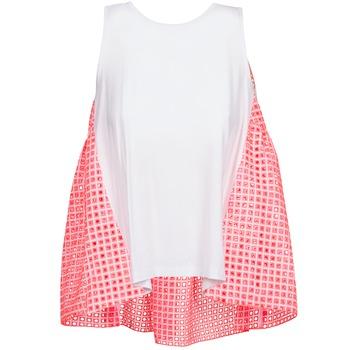 tekstylia Damskie Topy na ramiączkach / T-shirty bez rękawów Manoush AJOURE CARRE Biały / Różowy
