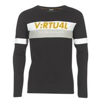 tekstylia Męskie T-shirty z długim rękawem Jack & Jones JCOACE-TEE-LS-CREW-NECK Czarny
