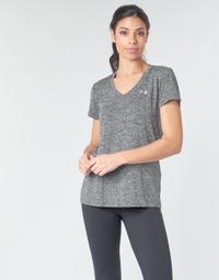 tekstylia Damskie T-shirty z krótkim rękawem Under Armour TECH SSV - TWIST Czarny / Szary