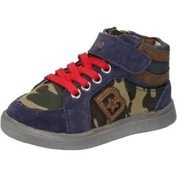 Buty Chłopiec Trampki wysokie Blaike sneakers blu camoscio verde pelle AD769 Multicolore