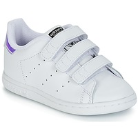 Buty Dziewczynka Trampki niskie adidas Originals STAN SMITH CF I Biały / Srebrny