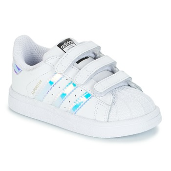 Buty Dziewczynka Trampki niskie adidas Originals SUPERSTAR CF I Biały / Srebrny