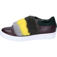 Buty Damskie Trampki Islo sneakers bordeaux pelle verde pelliccia BZ212 Multicolore