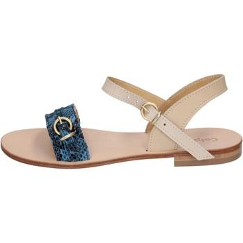 Buty Damskie Sandały Calpierre sandali blu pelle BZ838 Blu