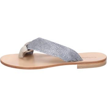 Buty Damskie Sandały Calpierre sandali grigio camoscio beige tessuto BZ880 Multicolore