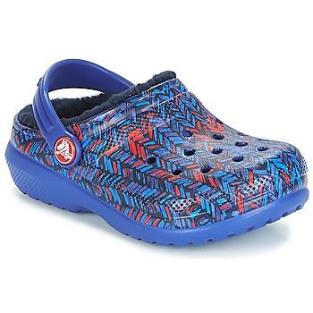 Buty Dziecko Chodaki Crocs CLASSIC LINED GRAPHIC CLOG K Niebieski