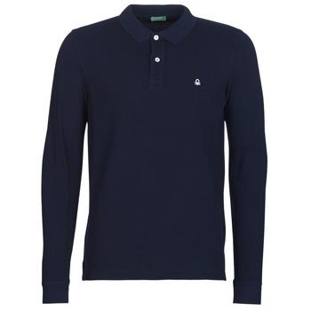 tekstylia Męskie Koszulki polo z długim rękawem Benetton MAZARRI Marine