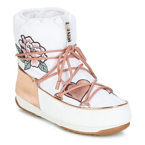 Buty Damskie Śniegowce Moon Boot PEACE & LOVE WP Biały / Różowy / Gold