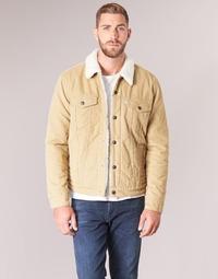 tekstylia Męskie Kurtki jeansowe Levi's TYPE 3 SHERPA TRUCKER Beżowy