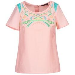 tekstylia Damskie Topy / Bluzki Color Block ADRIANA Różowy