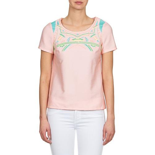 Color Block Adriana Różowy - Bezpłatna Dostawa- Tekstylia Bluzki Damskie 8760 Najniższa Cena