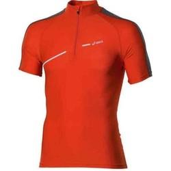 tekstylia Damskie T-shirty z krótkim rękawem Asics 1/2 ZIP TOP FW12 421016-0540 pomarańczowy