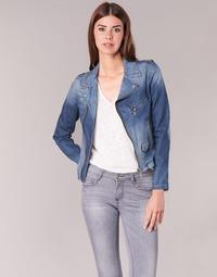 tekstylia Damskie Kurtki jeansowe Schott JANIS Niebieski