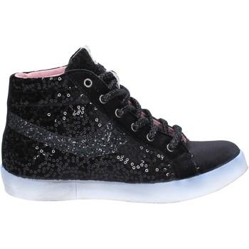 Buty Damskie Trampki wysokie Fiori Di Picche sneakers nero velluto paillettes BX345 Nero