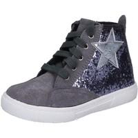 Buty Dziewczynka Trampki wysokie Enrico Coveri sneakers grigio glitter camoscio BX839 Grigio